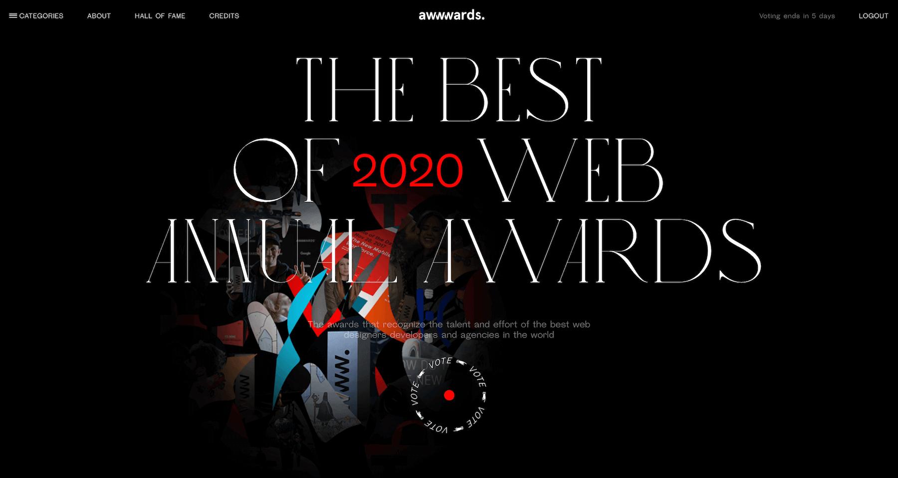 AWWWARDSで2020年のwebデザイン世界一決定戦してるよ